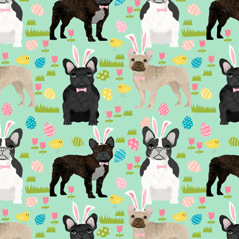 French Bulldog mixed coat Easter fabricmint fabric by petfriendly on Spoonflower - custom fabric