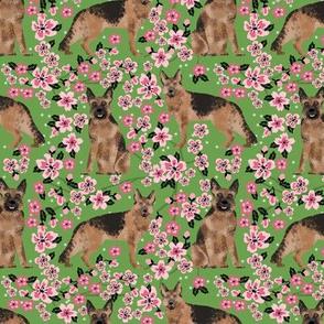 German Shepherd spring fabric cherry blossom green