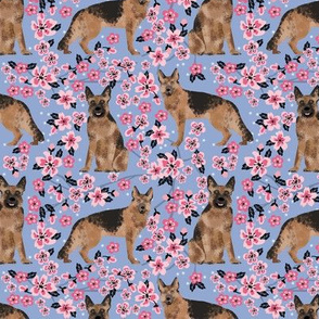 German Shepherd spring fabric cherry blossom
