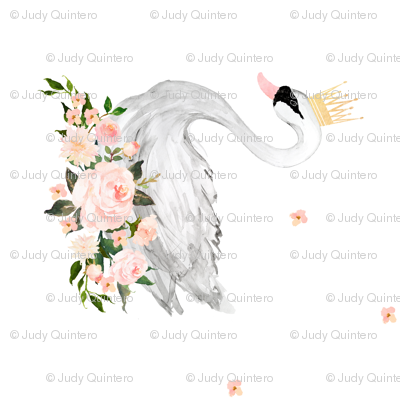 """Swan with Roses 4"""" in White / 90 degrees"""