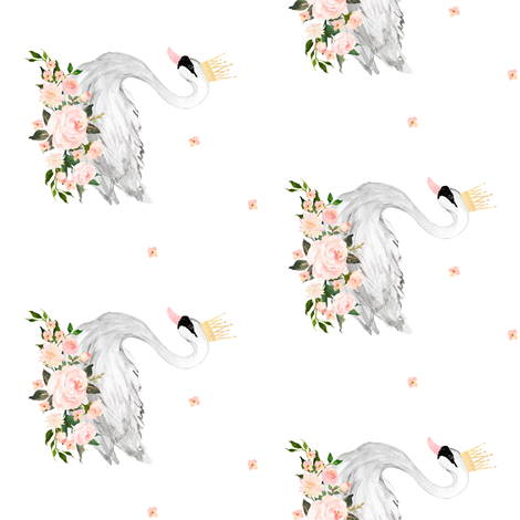 """Swan with Roses 4"""" in White / 90 degrees fabric by shopcabin on Spoonflower - custom fabric"""