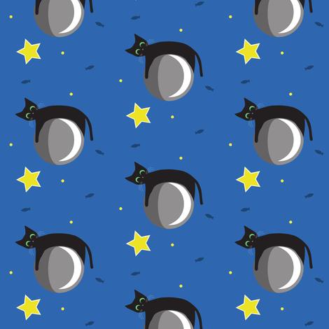 Moon Cat Star fabric by spoiledwine on Spoonflower - custom fabric