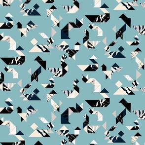 Wood cut wildlife tangram