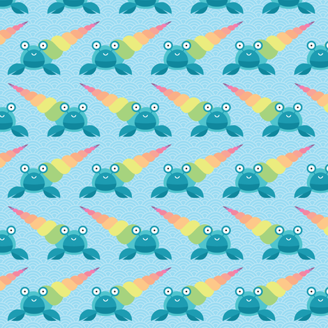 Rainbow hermit crab fabric by petitspixels on Spoonflower - custom fabric