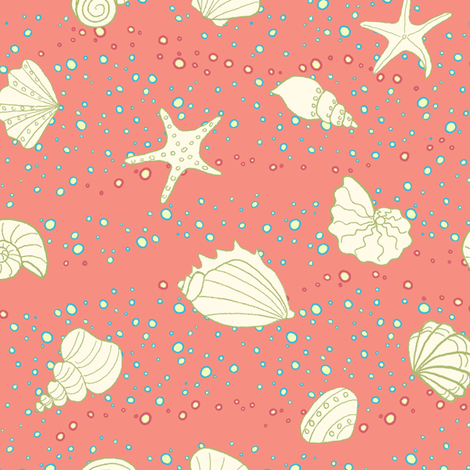 super shells - coral fabric by designed_by_debby on Spoonflower - custom fabric