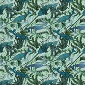 Narwhals in an Aqua Garden