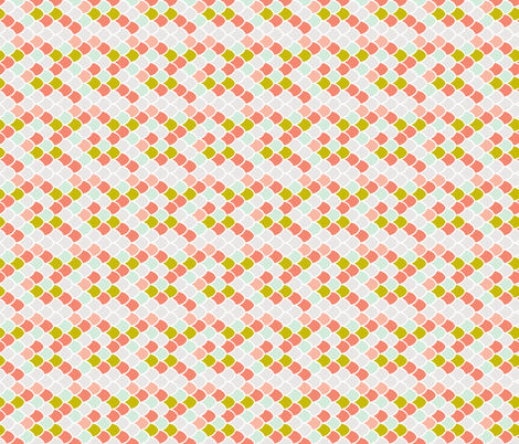 coral + citron mermaid scales // small rotated fabric by ivieclothco on Spoonflower - custom fabric