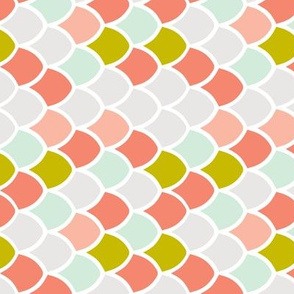 coral + citron mermaid scales // small rotated