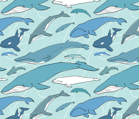 Whales fabric by elystrations on Spoonflower - custom fabric