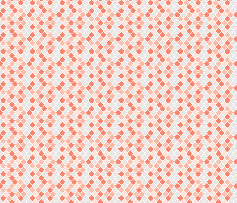 coral + pink mermaid scales // small  fabric by ivieclothco on Spoonflower - custom fabric