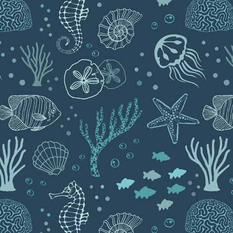 The Blue Deep // Light fabric by thin_line_textiles on Spoonflower - custom fabric