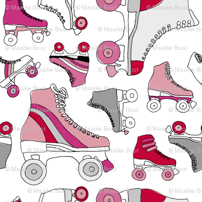 Hot pink retro roller skates illustration girls vintage icons design