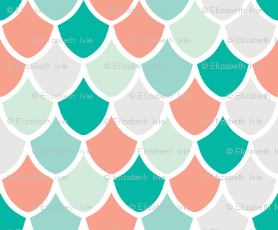 coral + teal mermaid scales // small