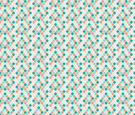 coral + teal mermaid scales // small fabric by ivieclothco on Spoonflower - custom fabric