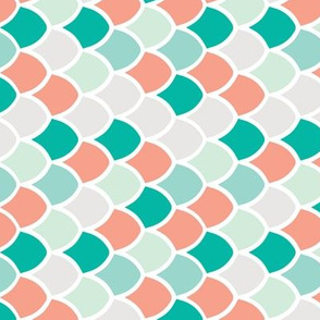 coral + teal mermaid scales // small rotated