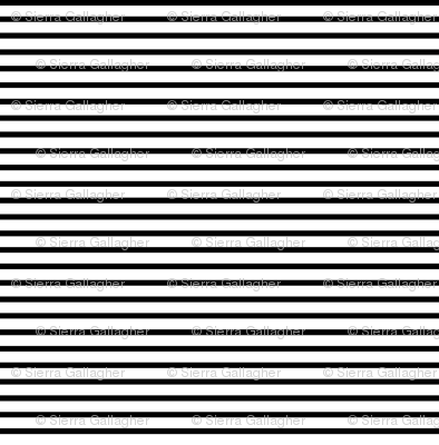 Thin Stripes 1/2 inch width Black on White Horizontal