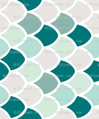 teal mermaid scales // small rotated