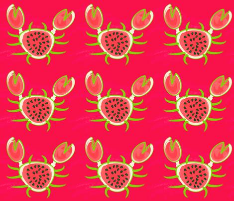 Watermelon Crab fabric by orangefancy on Spoonflower - custom fabric