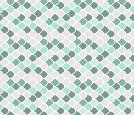 aqua mermaid scales // rotated fabric by ivieclothco on Spoonflower - custom fabric