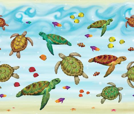 Sea Turtle Scene fabric by protonpaperie on Spoonflower - custom fabric