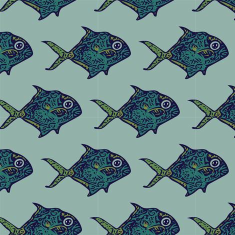 spirit_fish_blue_green_pattern fabric by suzannefs on Spoonflower - custom fabric