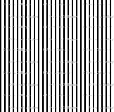 Thin Stripes 1/2 inch width Black on White Vertical