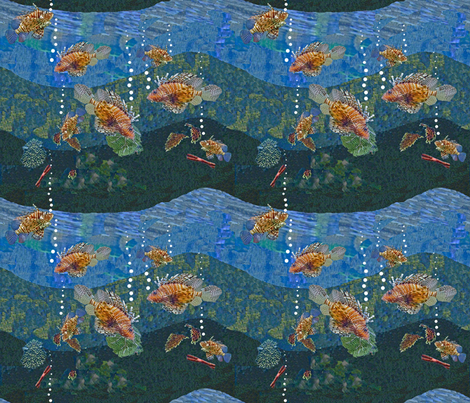 Lion fish roar bubbles! fabric by zsmama on Spoonflower - custom fabric