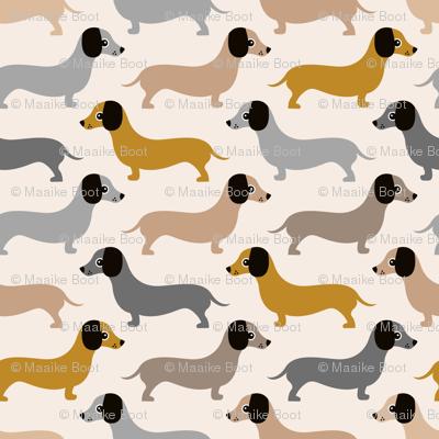 Vintage doxie sausage dogs dachshund illustration pattern gender neutral ochre gray