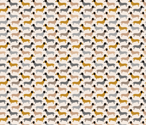 Vintage doxie sausage dogs dachshund illustration pattern gender neutral ochre gray fabric by littlesmilemakers on Spoonflower - custom fabric