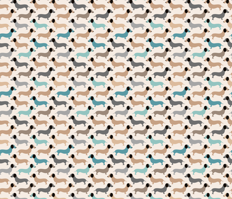 Vintage doxie sausage dogs dachshund illustration pattern gender neutral blue beige fabric by littlesmilemakers on Spoonflower - custom fabric