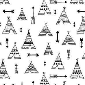 Trendy teepee and indian summer arrow illustration geometric aztec print in black and white