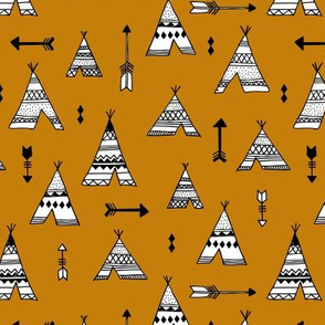 Trendy teepee and indian summer arrow illustration geometric aztec print in ochre