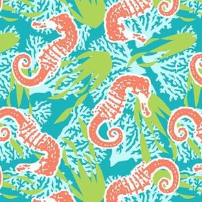 Sea Horse Seaweed and Coral