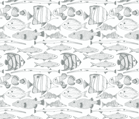 Fish Graphite fabric by sarahjean on Spoonflower - custom fabric