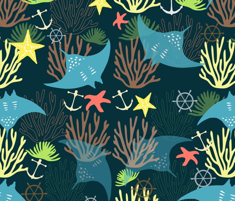 Stingrays and the CorelReef fabric by designcrib_by_nabomita on Spoonflower - custom fabric