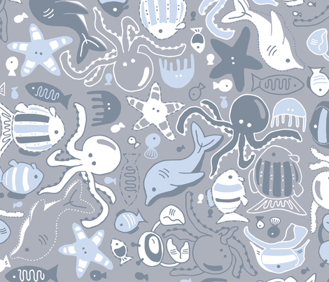 Fish Party fabric by tinati_design on Spoonflower - custom fabric