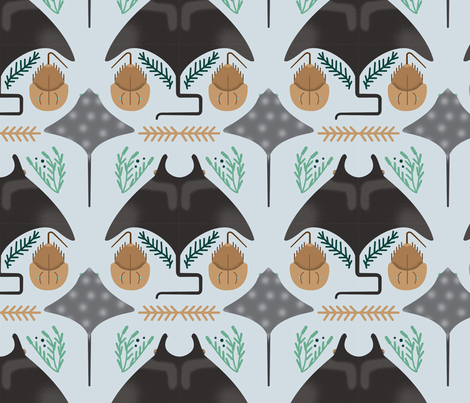 Rays & Horseshoe Crabs fabric by smoore194 on Spoonflower - custom fabric