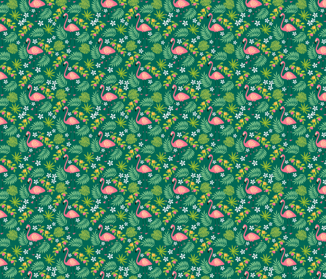 Fruity Flamingo - Green fabric by c_manning on Spoonflower - custom fabric