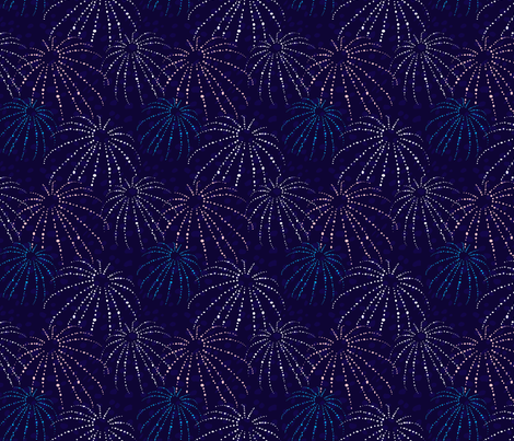 Sea Urchins Indigo Blue or White Dots and Blue Ocean fabric by minikuosi on Spoonflower - custom fabric