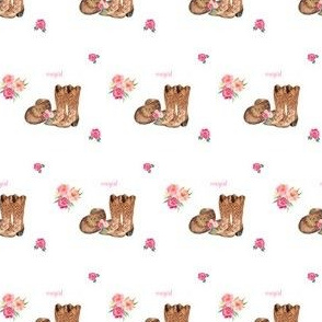 "2"" Cowgirl Floral Boots & Hat"