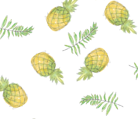 Pineapples and Leaves fabric by janweiss on Spoonflower - custom fabric