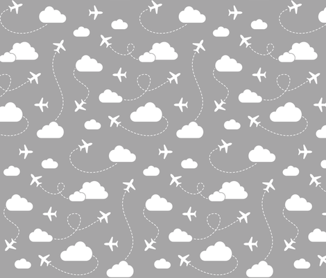 Jets in Clouds - White on Gray fabric by cavutoodesigns on Spoonflower - custom fabric