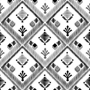 Black and white pattern . Embroidery . White background .