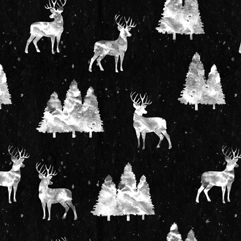 bucks on black  || woodland fabric fabric by littlearrowdesign on Spoonflower - custom fabric