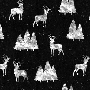 bucks on black  || woodland fabric