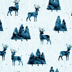 bucks on blue || watercolor woodland fabric