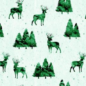 bucks on green || watercolor woodland fabric