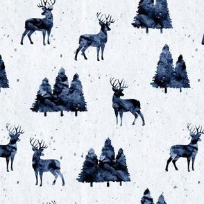 bucks on indigo    watercolor woodland fabric