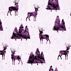 bucks on purple || watercolor woodland fabric