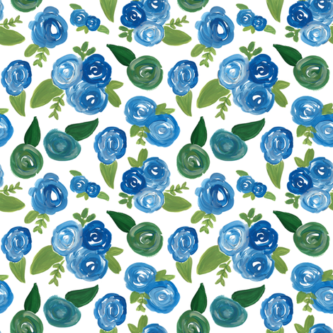vintage blue floral fabric by smallhoursshop on Spoonflower - custom fabric